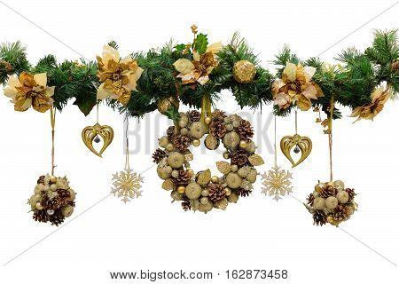 Christmas wreath. Christmas decorations. Isolated white background.