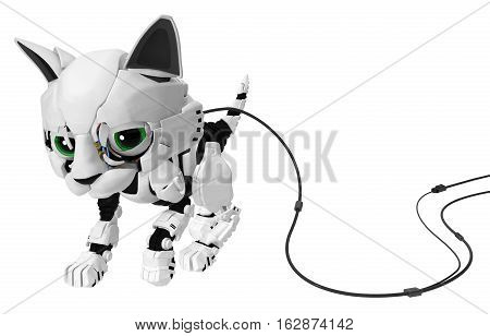 Robotic kitten with cable 3d illustration horizontal isolated