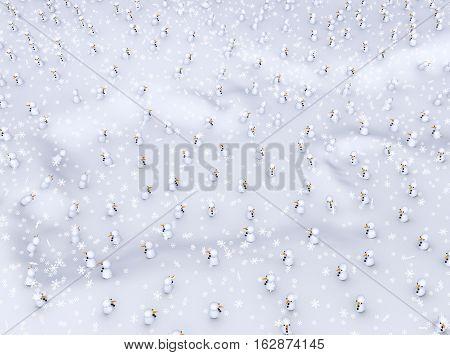 Small snowmen winter field 3d illustration horizontal background