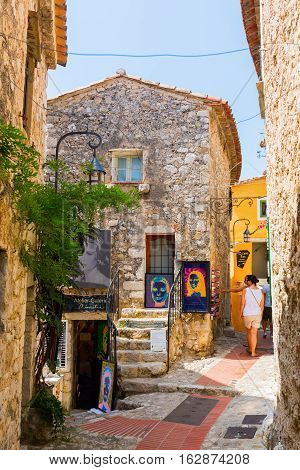 Alley In The Medieval Village Of Eze, South France