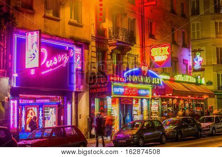 Sex Shops At Pigalle District In Paris, France