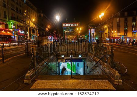 Place Pigalle In Paris, France, At Night