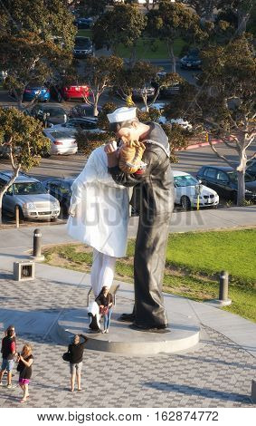 June 5 2014. San Diego California. The unconditional surrender statue created by J. Seward Johnson in San Diego California.