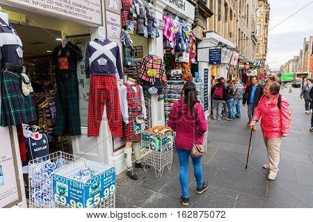 Shops At The Royal Mile In Edinburgh, Scotland