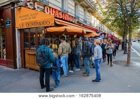 Brasserie Near Notre Dame In Paris, France