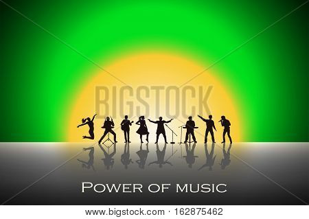Band Show On Green Sunset Background. Festival Concept. Set Of Silhouettes Of Musicians, Singers And