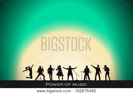Band Show On Turquoise Sunset Background. Festival Concept. Set Of Silhouettes Of Musicians, Singers