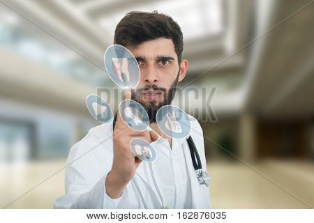 A close-up portrait of a rude, frustrated, upset doctor isolated on a white background. Medical symbols