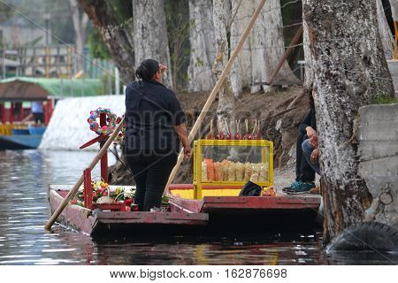 Trajineras - small boats used in the canals of Xochimilco Mexico