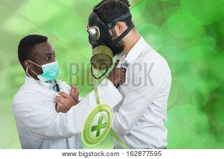 black doctor helping a man with a gas mask.