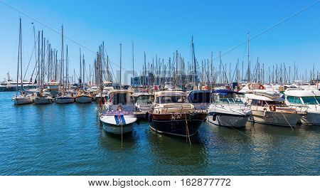Cannes France - August 05 2016: harbor of Cannes. Cannes is a city at the French Riviera known for its association with the rich and famous and the Cannes Film Festival