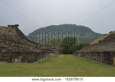 Ruins and ball court at the pre-Columbian archeological site El Tajin in Papantla, Veracruz, Mexico