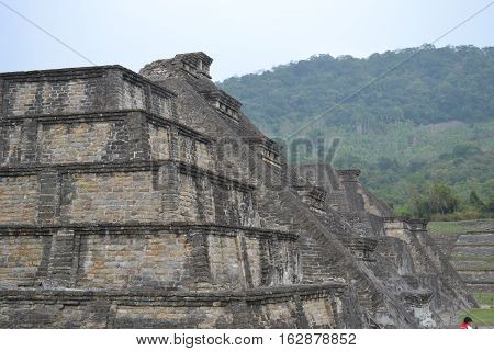 Ruins of pyramid at the pre-columbian archeological site known as El Tajin located in Papantla, Veracruz, Mexico