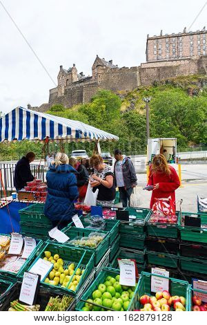 Farmers Market In Edinburgh, Scotland, Uk
