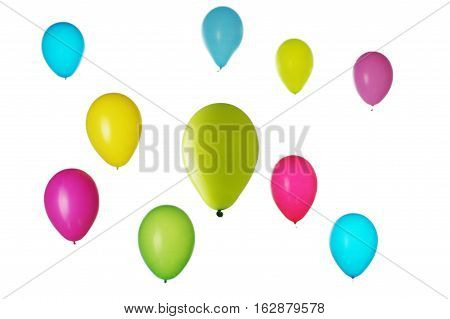 Colorful balloons blured on light background, fun