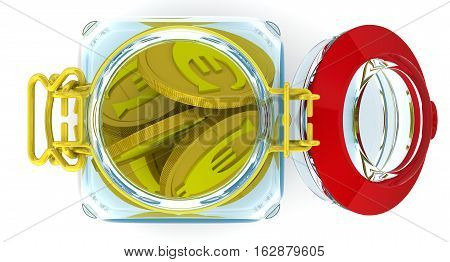 Piggy bank with euro coins. Glass Jar for canning with a coins of the European currency on a white surface. Isolated. 3D Illustration