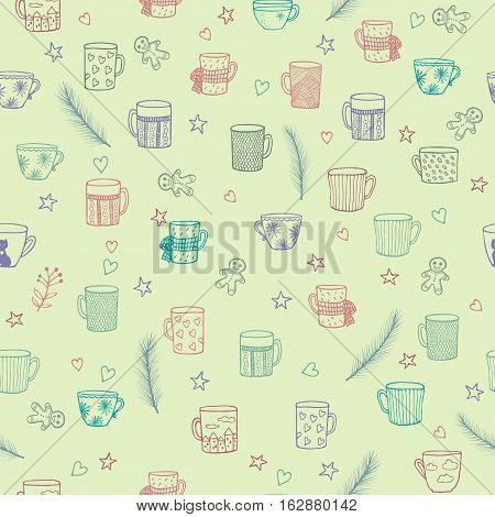 Doodle Cute Hand Drawn Seamless Background with Ornamental Teacups, Fir Tree Branches, Stars and Little Hearts. Seamless Texture for Textile Design, Wrapping Paper, Wallpapers. Winter Background.