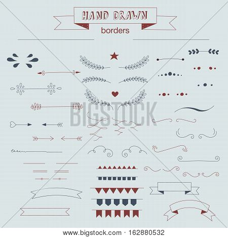 Collection of unique hand drawn borders and dividers. Vector elements for your design