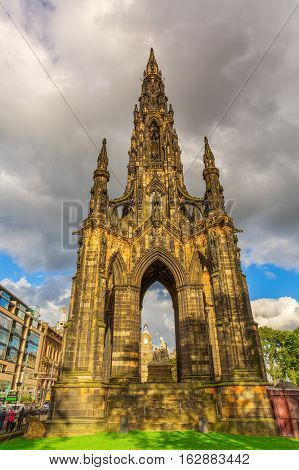Scott Monument In Edinburgh, Uk