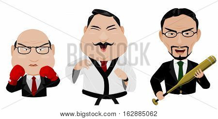 isolated senior Business man act like a fighter.they're ready to fight for all situation in their business.
