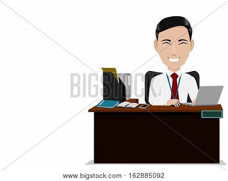 isolate happy salaryman is working on his desk. He's felling happy whith his work