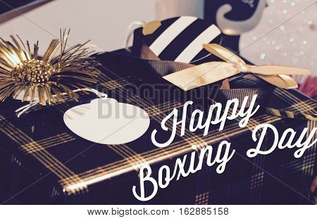 Happy Boxing day poster or card with room for copy on gift tag for sales or holiday message to community or social media network followers image