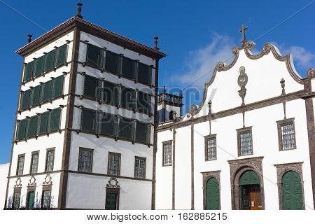 Convent of Our Lady of Hope the sanctuary of the Lord Holy Christ of the Miracles on Sao Miguel Island in Azores archipelago. Church and convent structure in Ponta Delgada Azores Portugal.