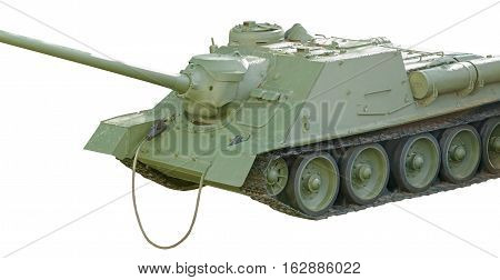 Soviet tank of period of the second world war on a white background