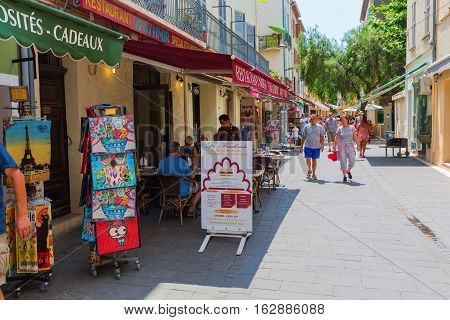 Shopping Street In Antibes, South France