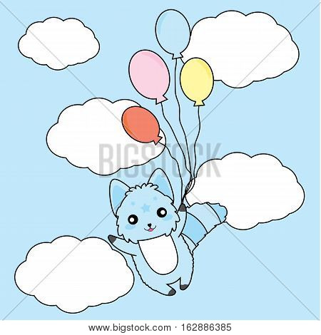 Birthday illustration with cute blue dog and balloons on sky background suitable for birthday card, postcard, and invitation card