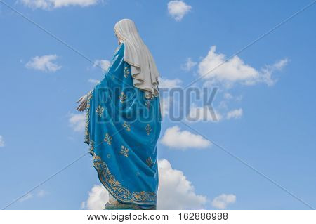 The Blessed Virgin Mary in front of the Roman Catholic Diocese that is public place in Chanthaburi Province, Thailand.