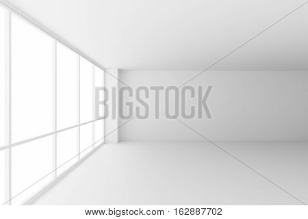 Business architecture white colorless office room interior - empty white business office room with white floor ceiling walls and large windows and empty space 3d illustration