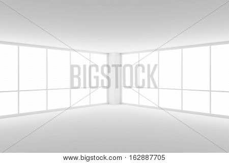 Business architecture white colorless office room interior - corner of empty white business office room with white floor ceiling walls and two large windows and empty space 3d illustration
