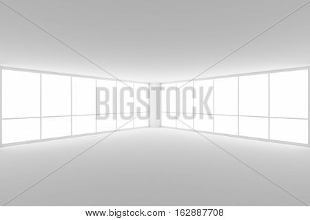 Business architecture white colorless office room interior - empty white business office room corner with white floor ceiling walls and two large windows and empty space 3d illustration