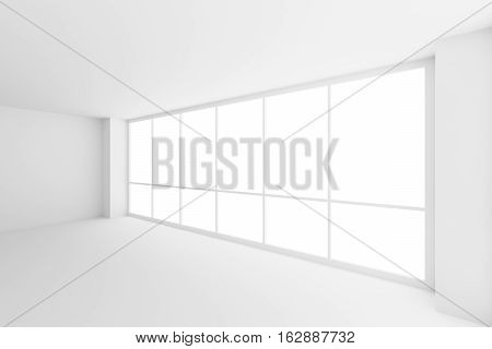 Business architecture white colorless office room interior - large window in empty white business office room with white floor ceiling walls and empty space 3d illustration