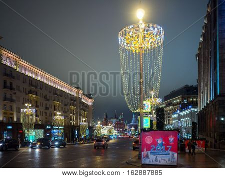 Night view of the Christmas and New Year decoration in Tverskaya street. 2017
