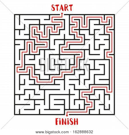 Maze Game with solution. Labyrinth Game with Entry and Exit. Find the Way Out Concept. Transportation. Logistics Abstract Background Concept. Business Path Concept. Vector Illustration.
