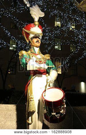 NEW YORK CITY- DECEMBER 15, 2016: Wooden soldier drummer Christmas decoration at the Rockefeller Center in Midtown Manhattan