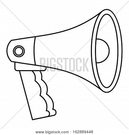 Outline illustration of bullhorn vector icon for web