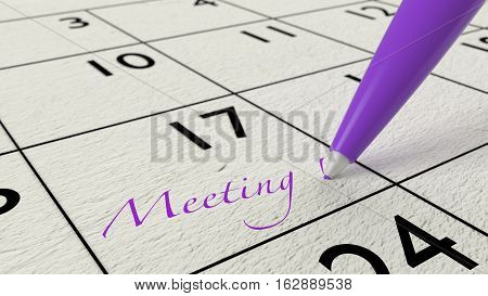Pink ballpen on a paper calendar closeup with the word meeting 3D illustration