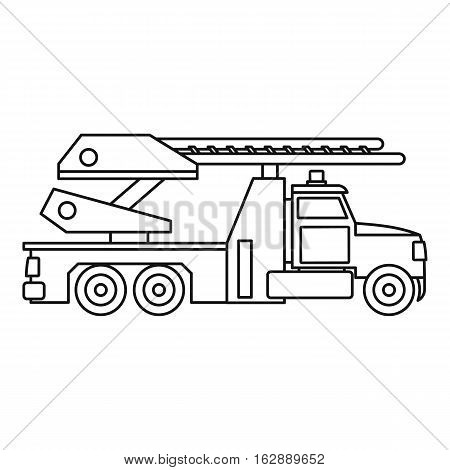 Fire truck icon. Outline illustration of fire truck vector icon for web