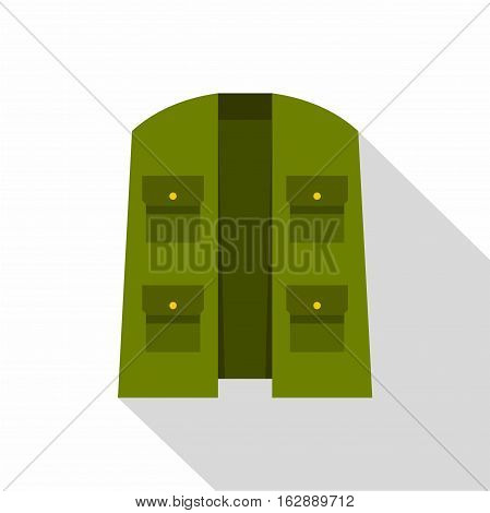 Flat illustration of green hunter vest vector icon for web isolated on white background