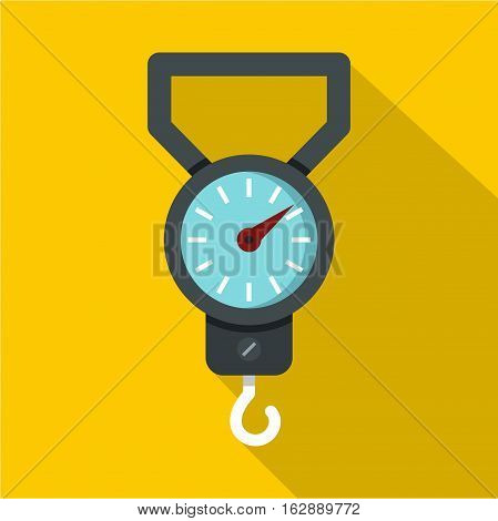 Flat illustration of spring scale vector icon for web isolated on yellow background
