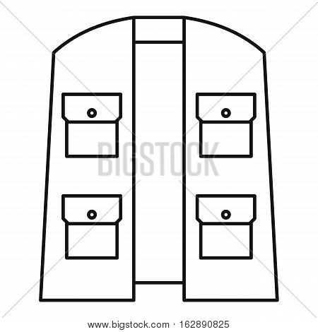 Outline illustration of vest of hunter or fisherman vector icon for web