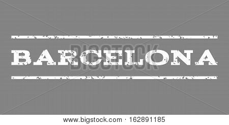 Barcelona watermark stamp. Text caption between horizontal parallel lines with grunge design style. Rubber seal stamp with scratched texture. Vector white color ink imprint on a gray background.
