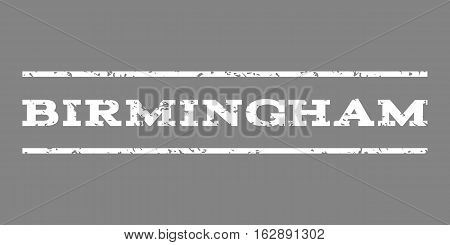 Birmingham watermark stamp. Text tag between horizontal parallel lines with grunge design style. Rubber seal stamp with scratched texture. Vector white color ink imprint on a gray background.