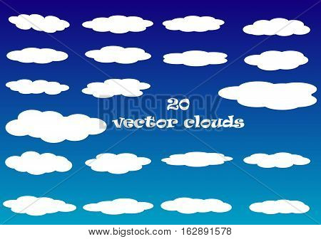 Flat cloud vector icons isolated over blue sky background white fluffy vector clouds set