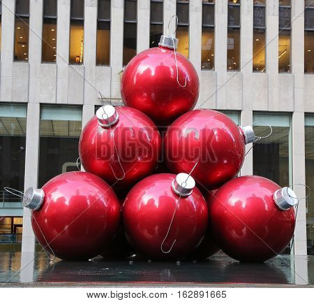 NEW YORK - DECEMBER 15, 2016: Christmas decorations in Midtown Manhattan near Rockefeller Center