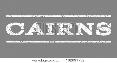 Cairns watermark stamp. Text caption between horizontal parallel lines with grunge design style. Rubber seal stamp with unclean texture. Vector white color ink imprint on a gray background.