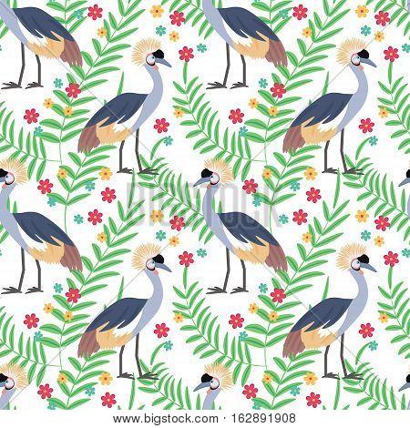 Crowned crane. African bird. Tropical bird. Seamless pattern background. Vector illustration